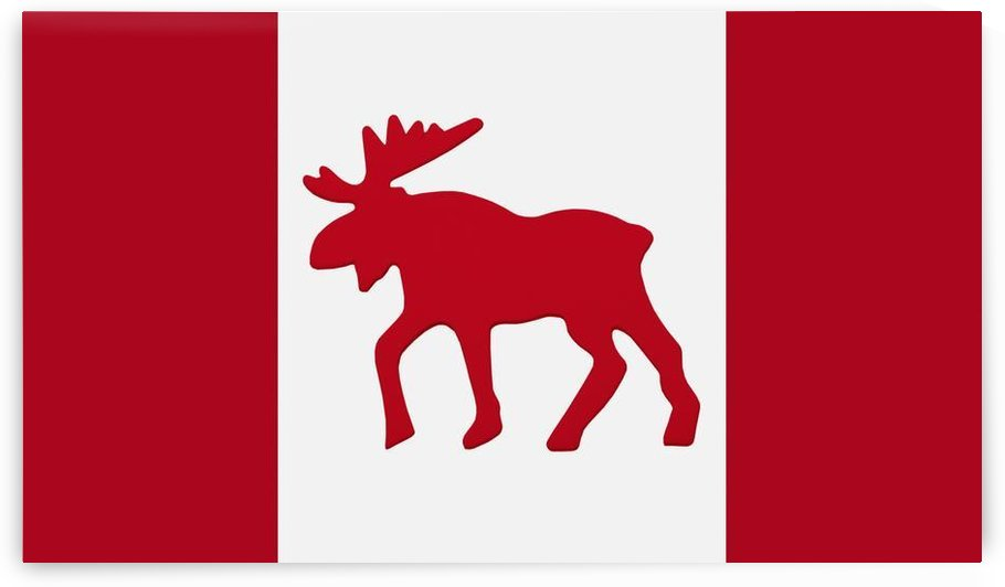 Moose Emblem On Canadian Flag by PacificStock