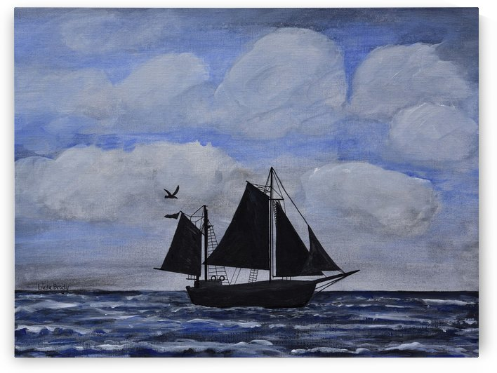 Sailing Ship Silhouette by Linda Brody