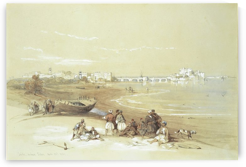 Landscape with figures outside the city by David Roberts