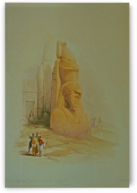 A colossal statue at the entrance to the Temple of Luxor by David Roberts