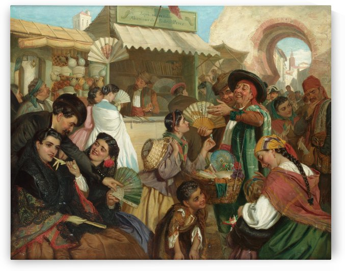 Crowded market with shops by John Bagnold Burgess