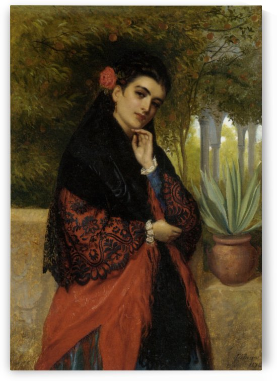Spanish Beauty in a Lace Shawl by John Bagnold Burgess