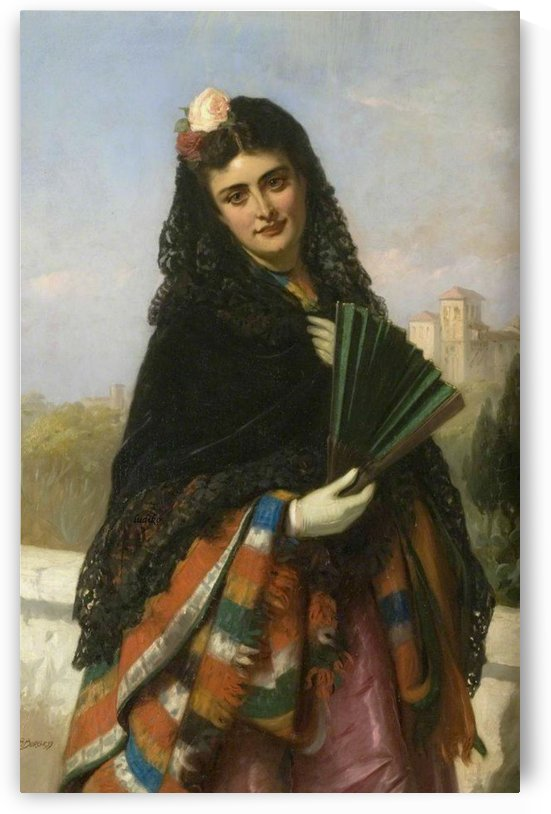 Spanish lady with a fan by John Bagnold Burgess