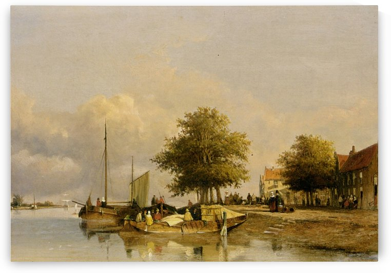 Townsfolk on a quay by Jan Hendrik Weissenbruch