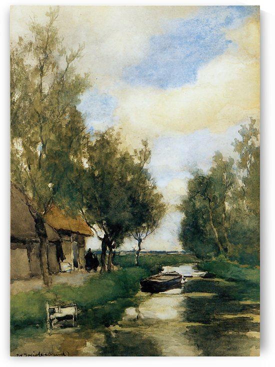 Farm on polder canal by Jan Hendrik Weissenbruch