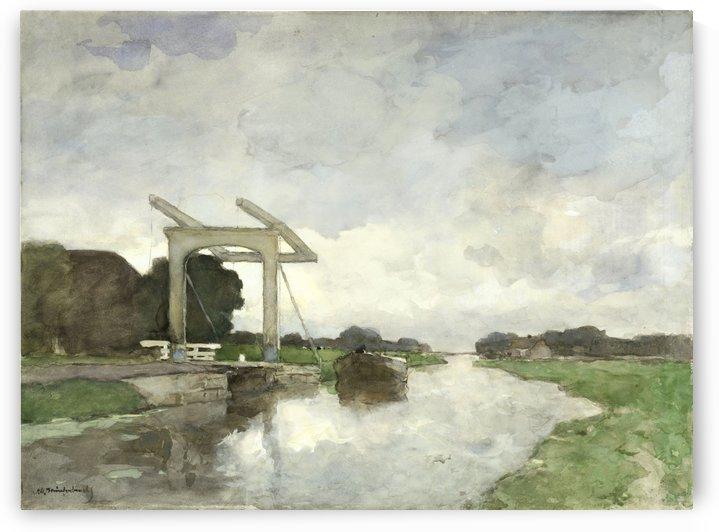 Ophaalbrug bij Noorden by Jan Hendrik Weissenbruch