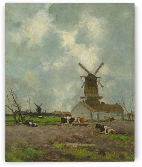 Hollands landschap met molens en koeien by Jan Hendrik Weissenbruch