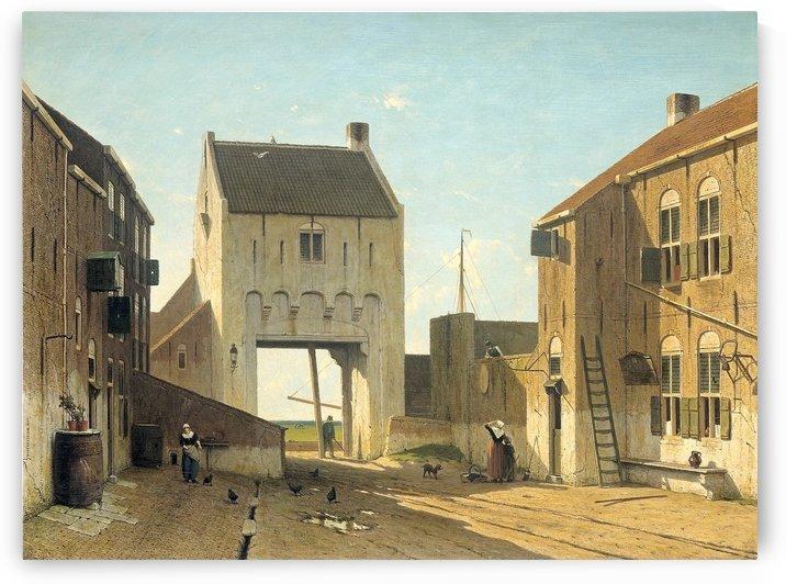 Een stadspoort te Leerdam by Jan Hendrik Weissenbruch