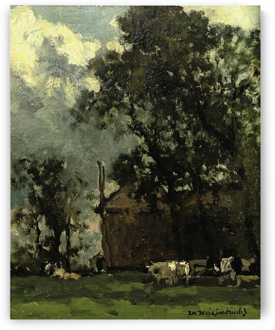 Cows in a sunny landscape by Jan Hendrik Weissenbruch