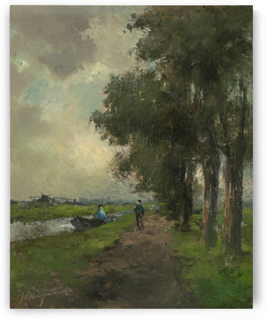 Farmers conversing on a towpath near Noorden by Jan Hendrik Weissenbruch