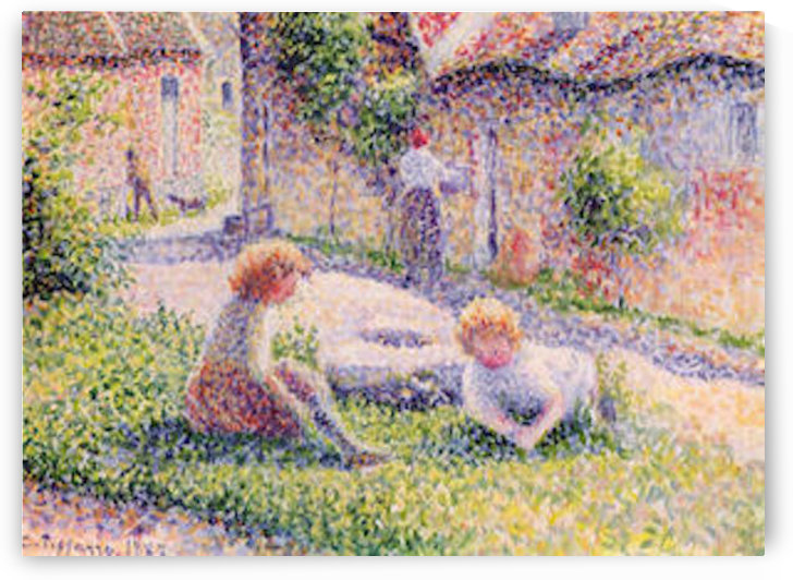 Children on a farm by Pissarro by Pissarro