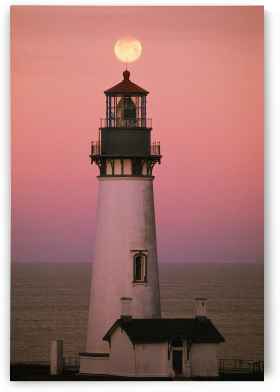 Full Moon Over Yaquina Head Light by PacificStock