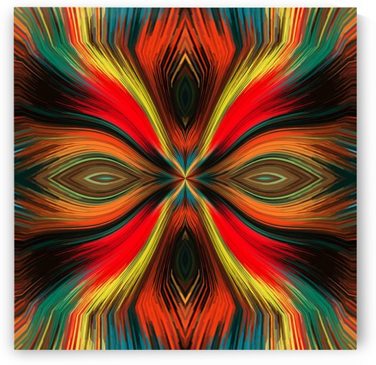 red yellow brown orange blue and green hairy face line pattern background by TimmyLA