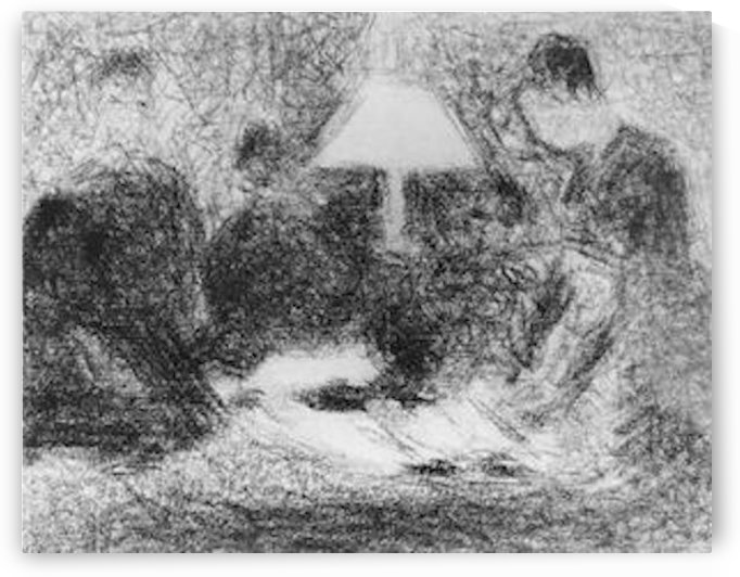Family evening by Seurat by Seurat