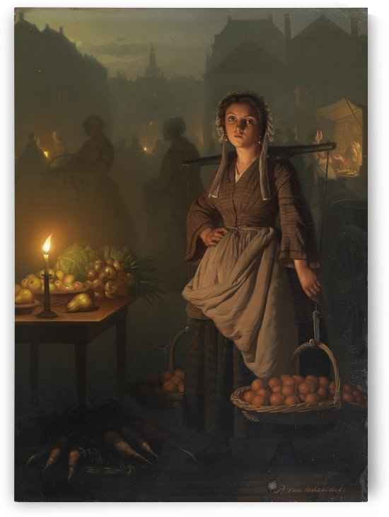 Market stalls, Fruits and vegetables by Petrus van Schendel