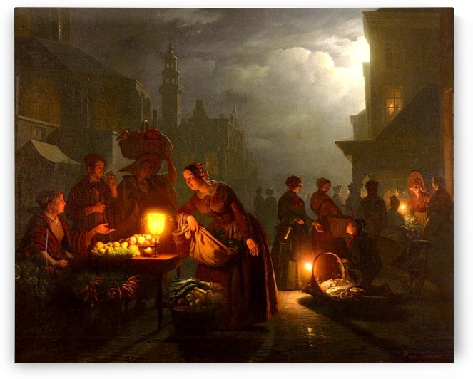 A night at the market by Petrus van Schendel
