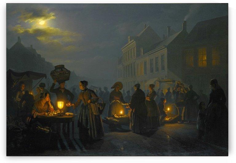 A market at night by Petrus van Schendel