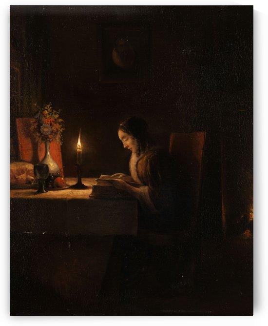 Lekture bei Kerzenlicht by Petrus van Schendel