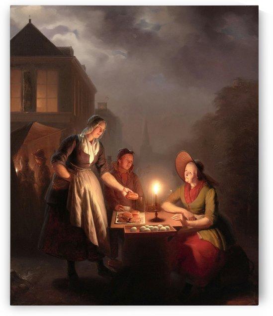 Moonlit meal by Petrus van Schendel