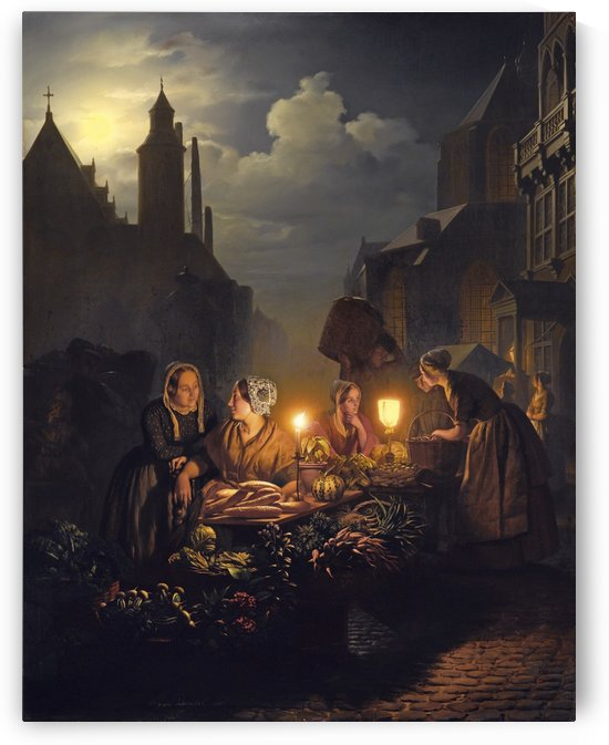 Evening market with vegetable sellers by Petrus van Schendel