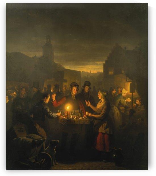 Figures chatting in the evening by Petrus van Schendel