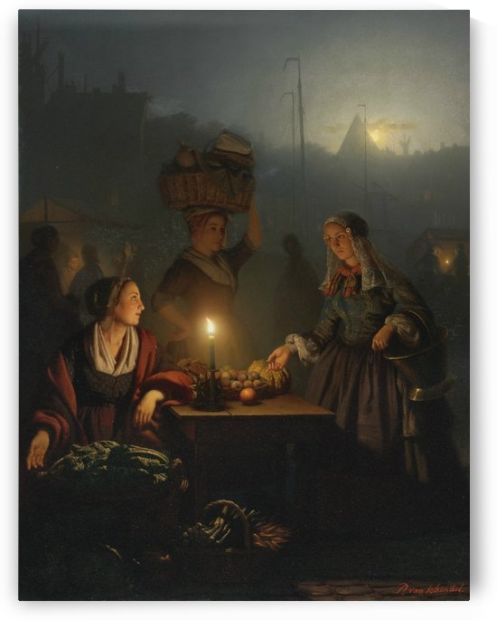 Buying fruit and vegetables at the night market 1863 by Petrus van Schendel