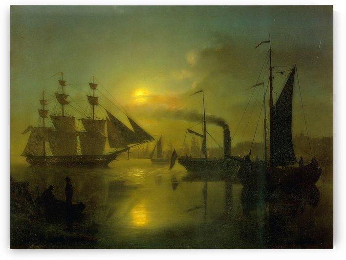The Moonlit Harbour by Petrus van Schendel