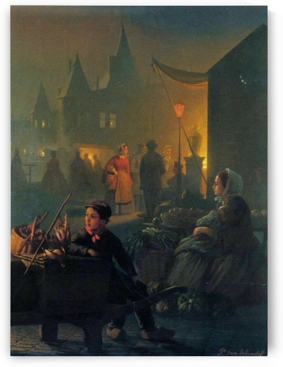 An evening in the market by Petrus van Schendel