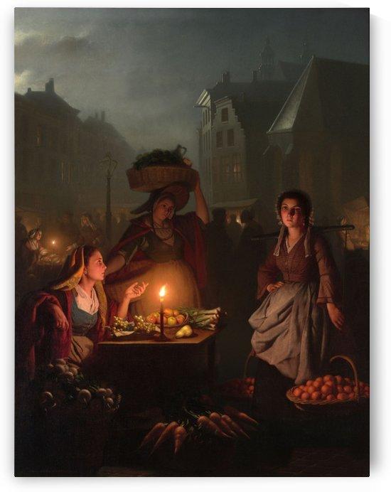 An evening market by Petrus van Schendel