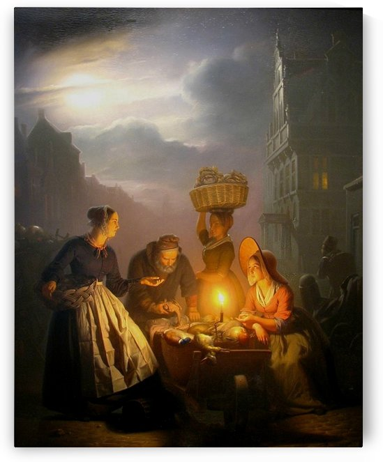 Figures at the market in the night by Petrus van Schendel