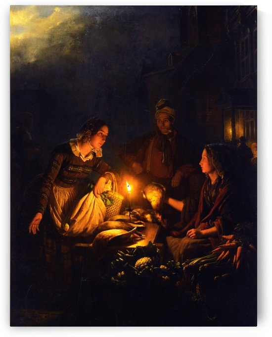 An evening at the market by Petrus van Schendel