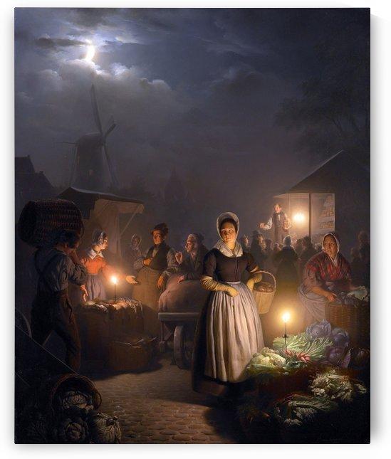 A night in the market by Petrus van Schendel