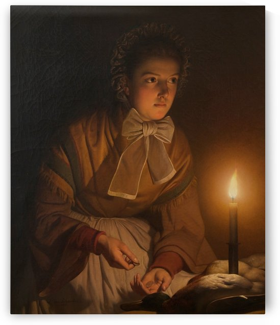 At the candle light by Petrus van Schendel