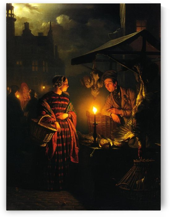 Figures at the chicken shop from the market by Petrus van Schendel