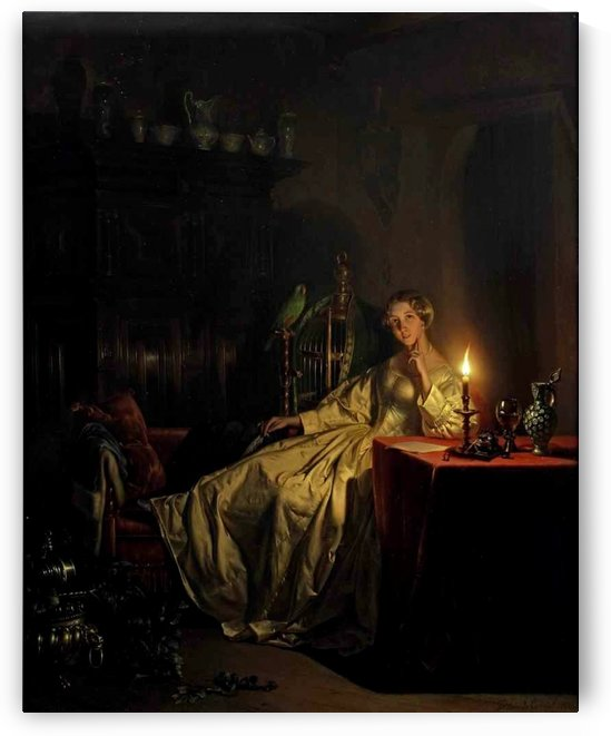 An interior with an elegant lady in a white satin gown and a parrot by Petrus van Schendel