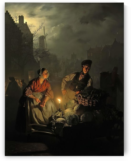 Selling vegetables at the night market by Petrus van Schendel