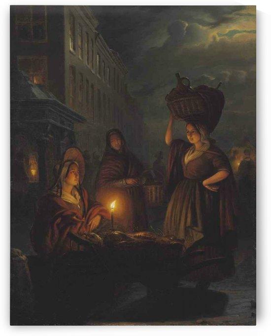 Moonlight market by Petrus van Schendel