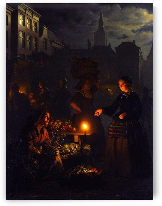 Market stalls by Petrus van Schendel