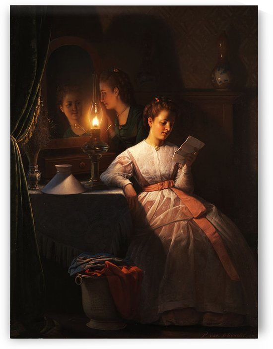 Reading the love letter at candle light by Petrus van Schendel