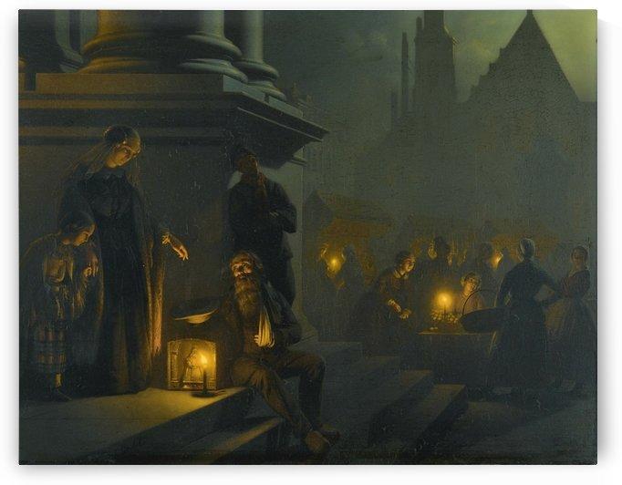 Charity in the night market by Petrus van Schendel