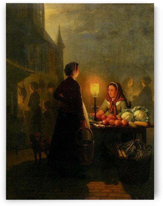 Market stall by moonlight by Petrus van Schendel