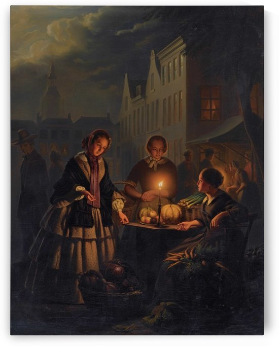 A vegetable market at the Grote Markt in The Hague by Petrus van Schendel