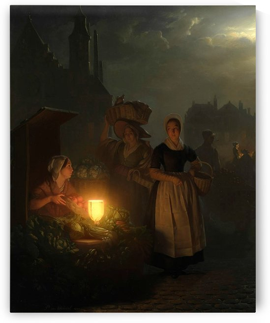 A vegetable market by Night, The Hague by Petrus van Schendel