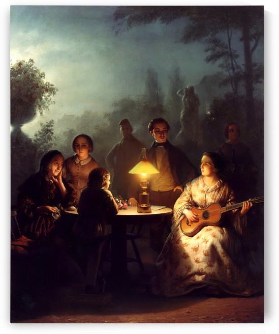 A summer evening by lamp by Petrus van Schendel
