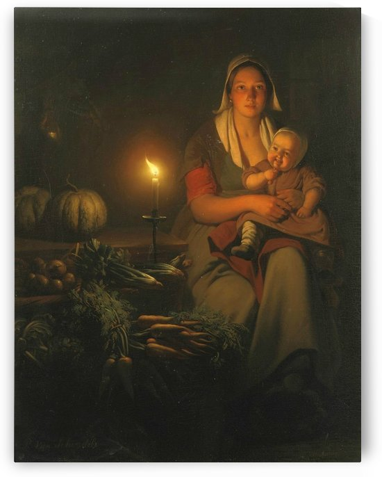 Mother and child at the night market by Petrus van Schendel