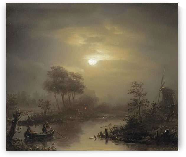 A moonlit river landscape, with a town in the distance by Petrus van Schendel