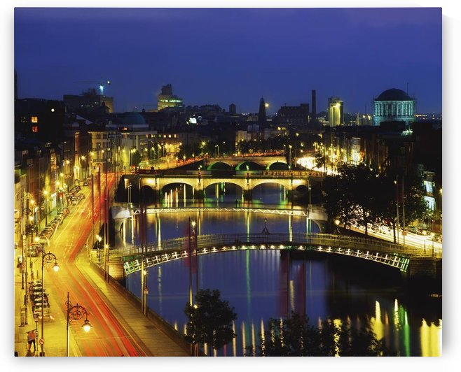 Dublin, Co Dublin, Ireland; View Of The River Liffey At Nighttime by PacificStock