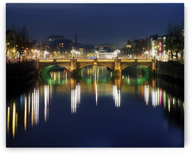 River Liffey At Night, O'connell Street Bridge, Dublin, Ireland by PacificStock