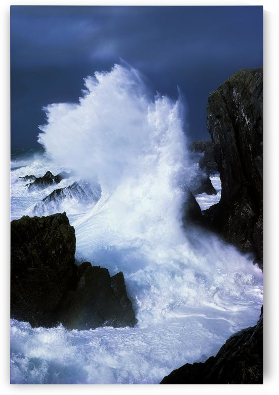 Ireland, Waves Crashing On Rocks by PacificStock