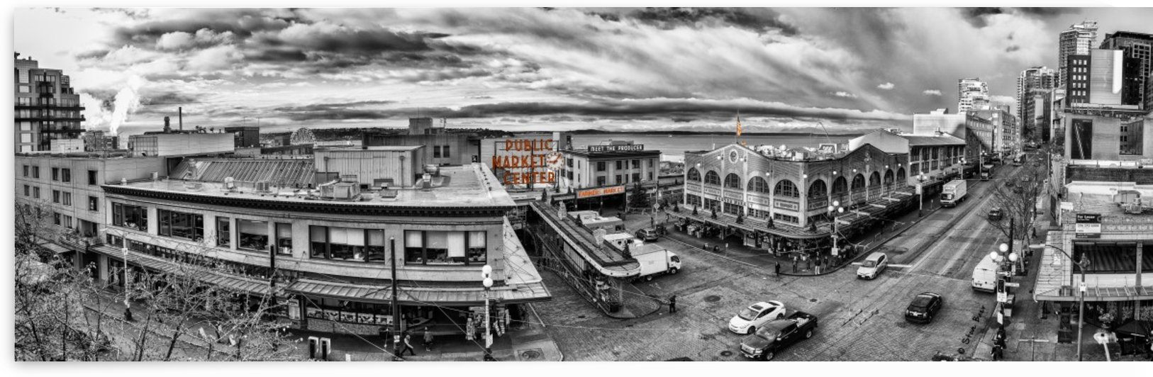 Seattle Pike Place Market Vista in Black and White by Steve
